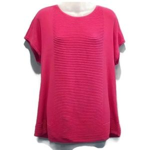 Chicos Size 2 (Lg) Pink Stretchy Ribbed Tunic Top